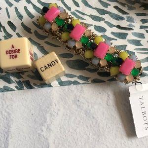 Talbots Pink Yellow Green Jeweled Bracelet